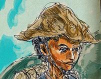 Digital paint-up of pen drawings