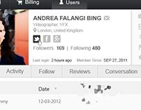 Dashboard for Web App