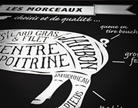 Panneaux bois peint pour la Boucherie Roulleau...
