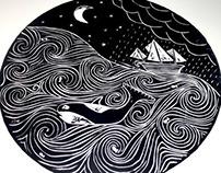 Stormy Seas Lino Cut