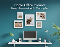 Home Office Interiors- Posters, Frames & Walls Mockup