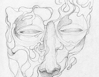 Masks project: pencil sketches