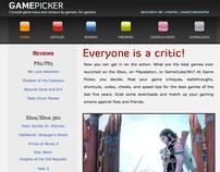 GamePicker Video Game Website Demo