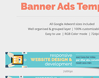 Flat Web Design & Development Banner Ads