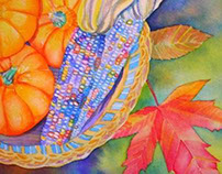 Autumn watercolor painting  Indian corn & leaves