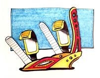 Snowboard Bindings - Copic Marker Renderings