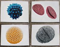 Pollen CMYK Stencils on Canvas
