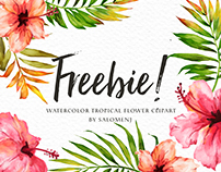 FREEBIE-Watercolor tropical flower