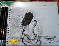 Nude Girl Charcoal Pencil Sketch | Powered by #SyedArt