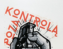 """Poza Kontrola"" Five Colors Reduction Linocut"