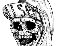 The skull with a snapback & a hoodie.