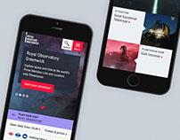 Royal Museums Greenwich: website design