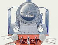 Portrait of German express steam engine 1930