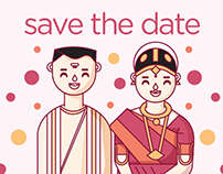 Tamil Brahmin Wedding Invite & Save the Date Card