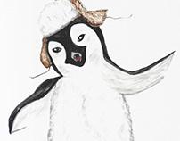 Cartoon penguin on iceberg