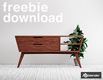 Modern Credenza - Free Model - Blender3D