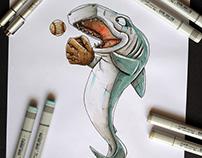 Happy like a shark baseball player