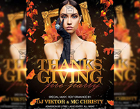 Thanksgiving Pre-party - Seasonal A5 Flyer Template