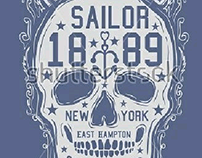 sailor skull graphic design vector art