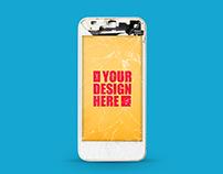 iPhone Screen Cracked Mockup Free