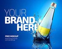 Free Glass Bottle Mockup in PSD