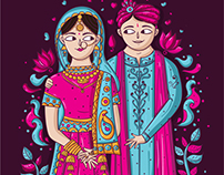 Vivid Punjabi Wedding Invitation Design + Illustration
