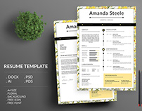 Yellow Floral Resume Template / CV template