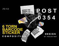 Free Download Torn Barcode Sticker Composition