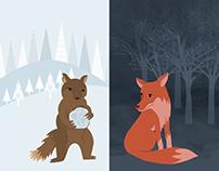 Estampas Brincando na neve e Noite na Floresta