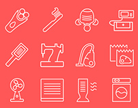 One Line Electrodomestics Icons