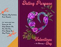 valentine day invitation card with Emerald design