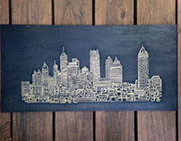 24x12  One line Atlanta Engraving