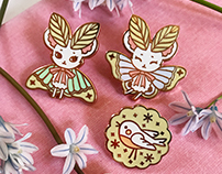 Mousemoth and Bird Enamel Pins