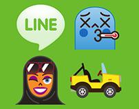 Line Emojis: Spain, Arabic, Transport