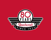 Hawker Beechcraft 80 years Anniversary Logo