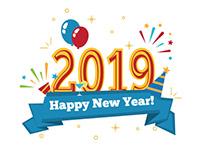Happy New Year 2019 vector clip art
