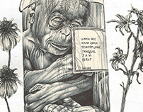 'the money jar of the creationist' bic biro drawing on
