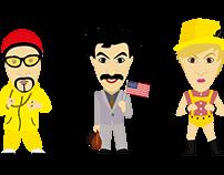 Sacha Baren Cohen Character Illustrations