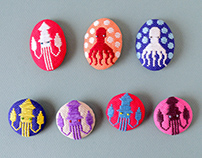 Koginzashi Embroidered Brooches