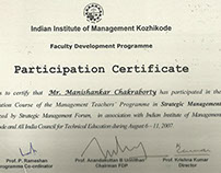 Certificates of Dr Manishankar Chakraborty Set-1