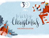 Merry Christmas hand drawn cliparts + Free snow texture
