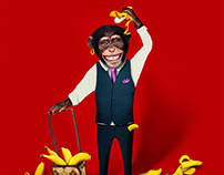 The Monkey is CRAZY about bananas