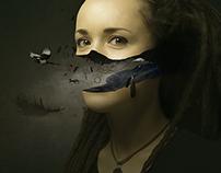 Girl with birds inside