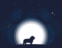 🦁 Lion and Moon Illustration