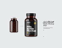 Amber Pills Bottle Mockup PSD