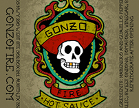 Gonzo Fire Hot Sauce - Bottle Label