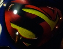 Super Man inspired custom motorcycle Helmet.
