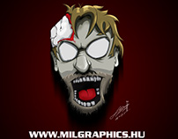Halloween zombie head speed paint and vector art