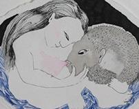 Serie Mamantes · Mixta sobre papel · 23 x 23 cm · 2012