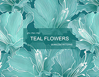 Teal Flowers seamless patterns